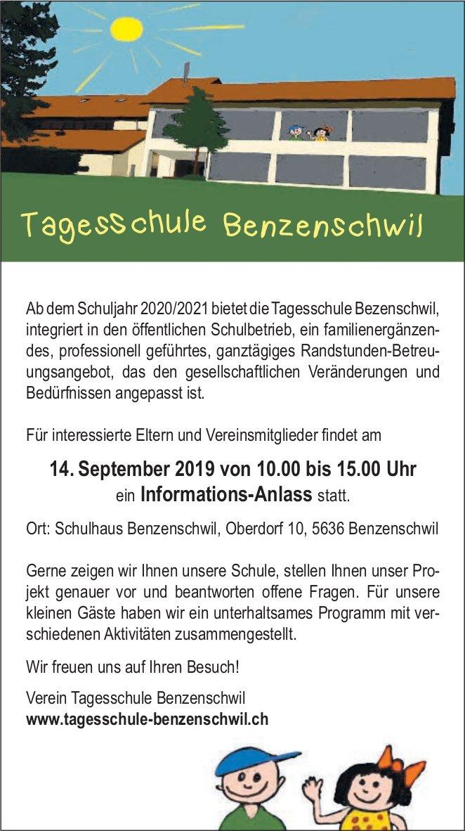 Tagesschule Benzenschwil - Info-Anlass am 14. September