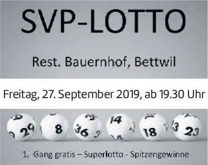 SVP-Lotto am 27. September in Bettwil