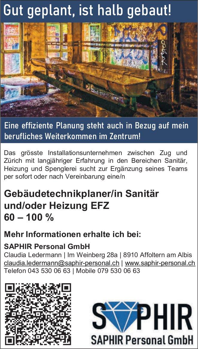 Gebäudetechnikplaner/in Sanitär und/oder Heizung EFZ 60 – 100 % gesucht