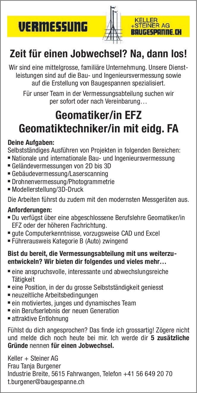 Geomatiker/in EFZ  und Geomatiktechniker/in mit eidg. FA gesucht