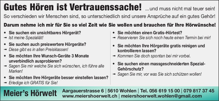 Meier's Hörwelt in Wohlen