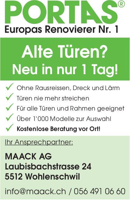 Alte Türen, neu in nur 1 Tag - Maack AG in Wohlenschwil
