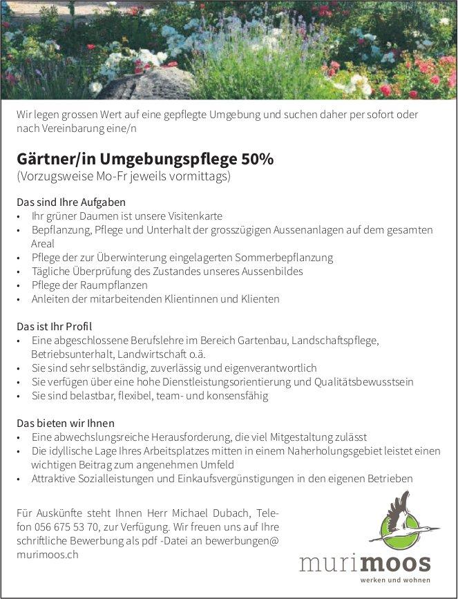 Gärtner/in Umgebungspflege 50% gesucht