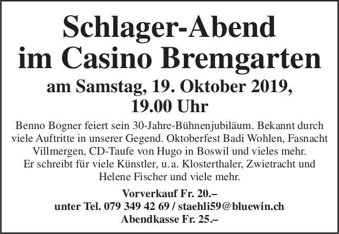Schlager-Abend im Casino Bremgarten am 19. Oktober
