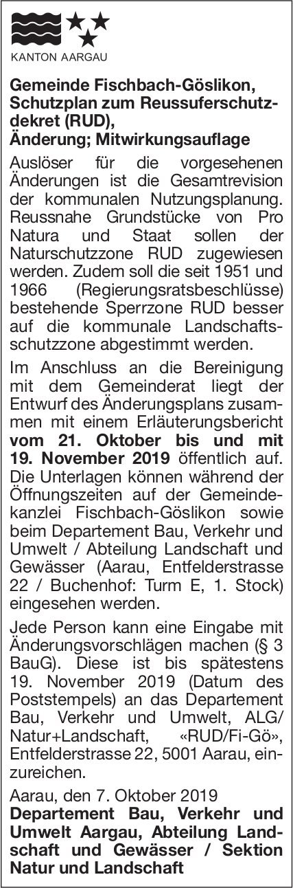 Gemeinde Fischbach-Göslikon, Schutzplan zum Reussuferschutz- dekret (RUD)