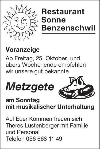 Restaurant Sonne Benzenschwil - Metzgete ab 25. Oktober