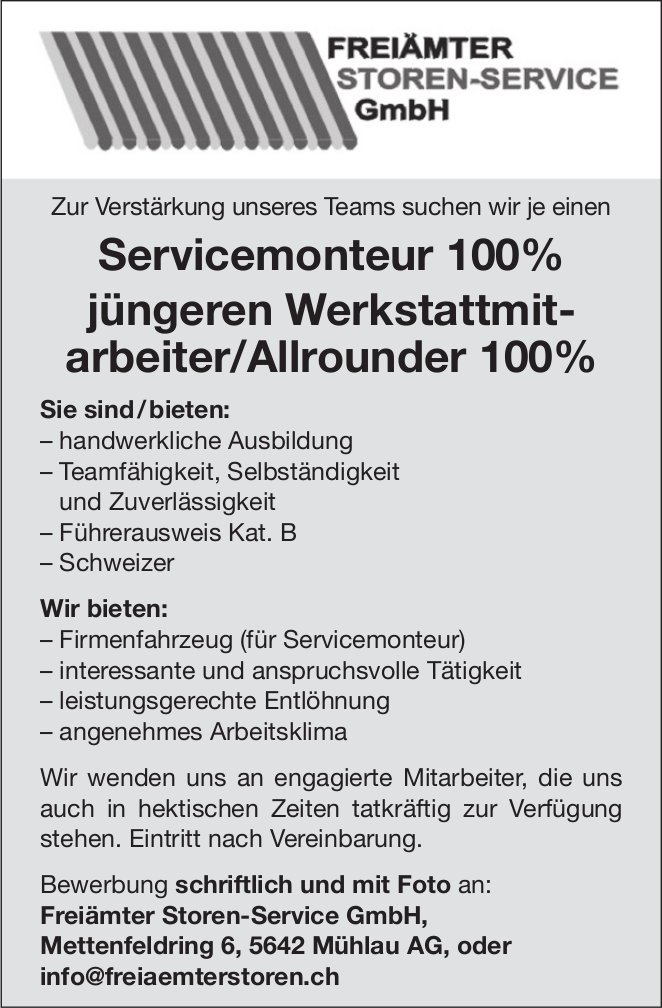 Servicemonteur 100% gesucht