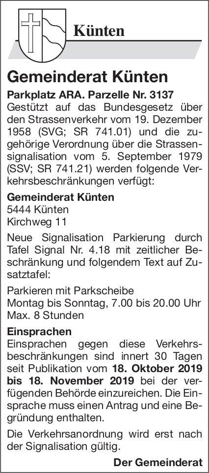 Gemeinde Künten - Neue Signalisation