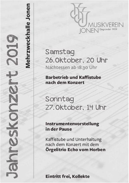 Musikverein Jonen - Jahreskonzert 26./27. Oktober