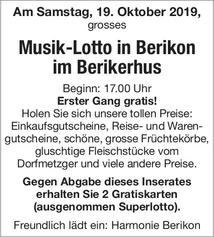 Musik-Lotto in Berikon am 19. Oktober