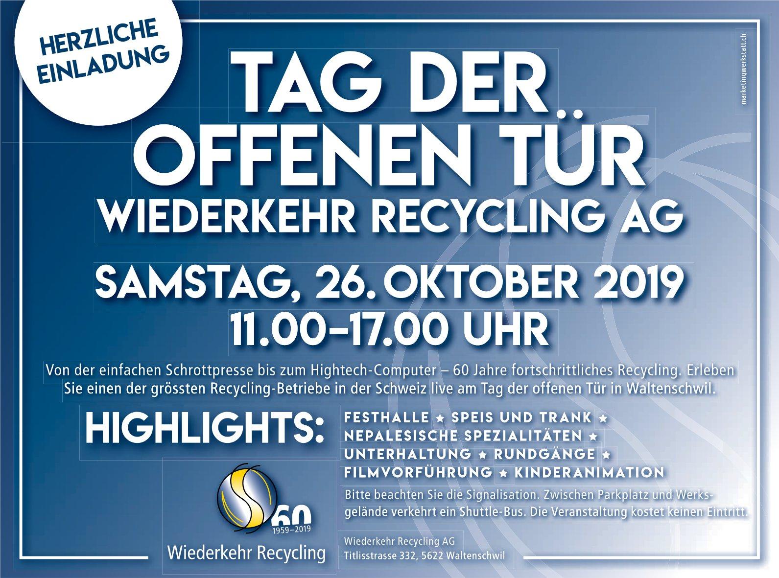 Tag der offenen Tür am 26. Oktober bei Wiederkehr Recycling AG