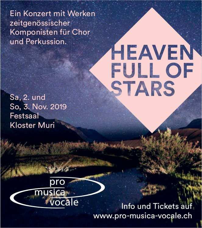 """""""Heaven Full of Stars"""" - Konzert am 2./3. November in Muri"""