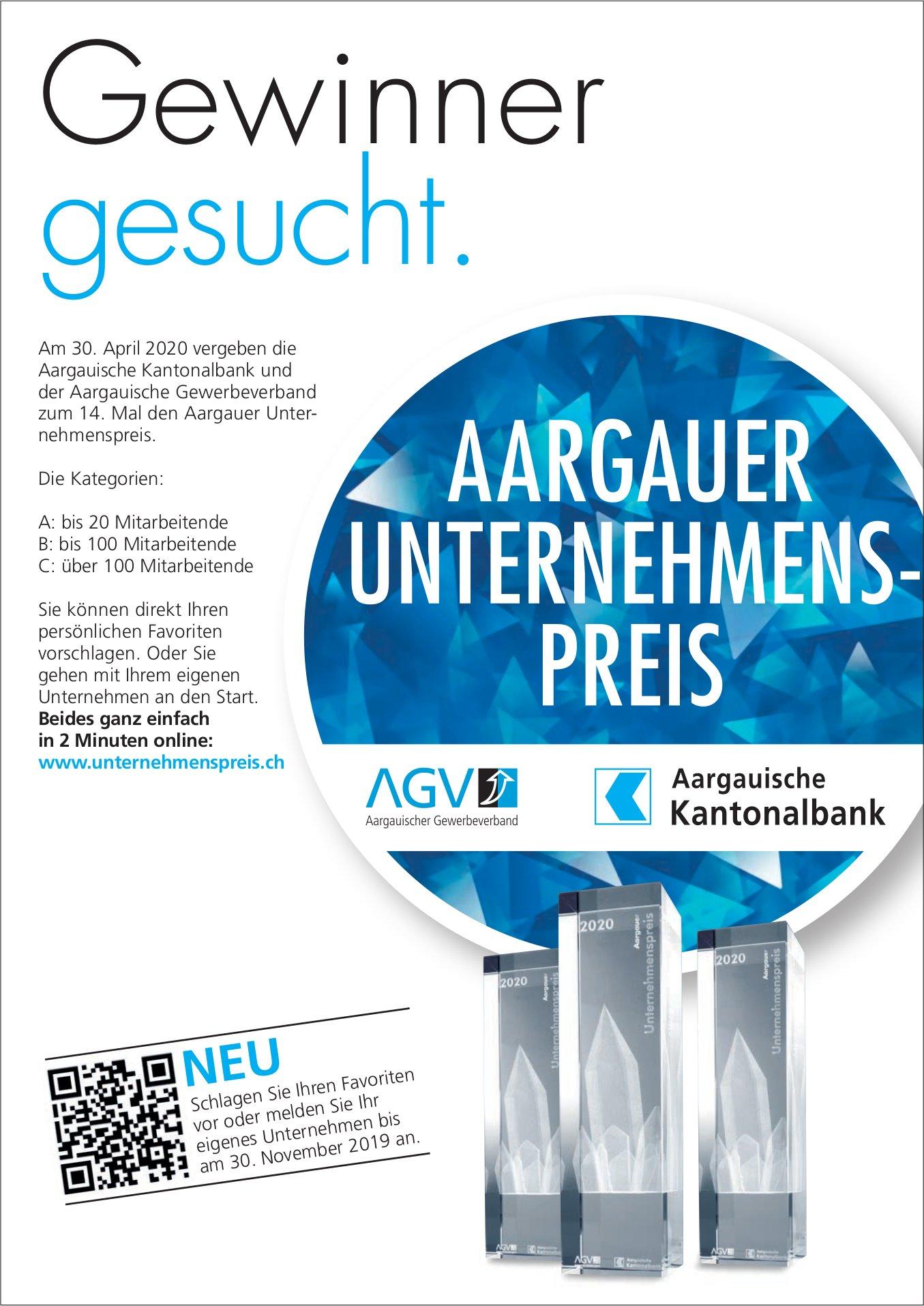 Aargauer Unternehmenspreis - Gewinner gesucht