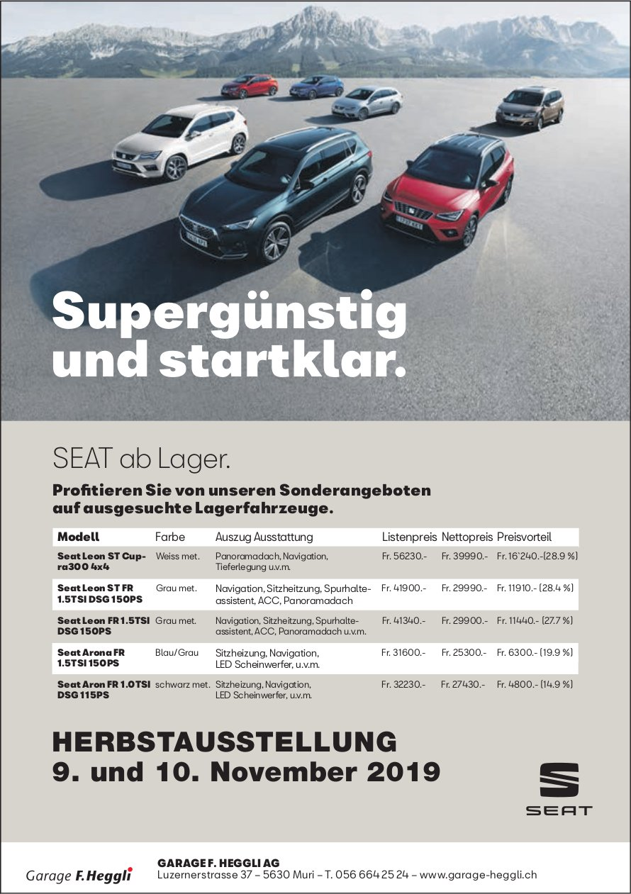 Garage Heggli AG - Herbstausstellung 9./10. November