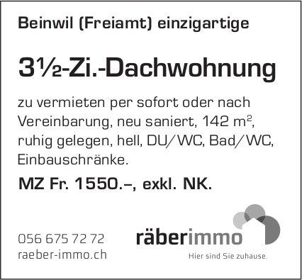 3½-Zi.-Dachwohnung in Beinwil (Freiamt) zu vermieten