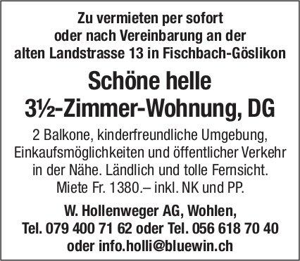 Schöne helle 3½-Zimmer-Wohnung, DG in Fischbach-Göslikon zu vermieten