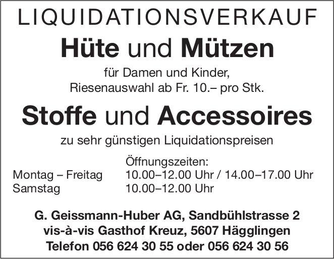 LIQUIDATIONSVERKAUF Hüte und Mützen in Hägglingen