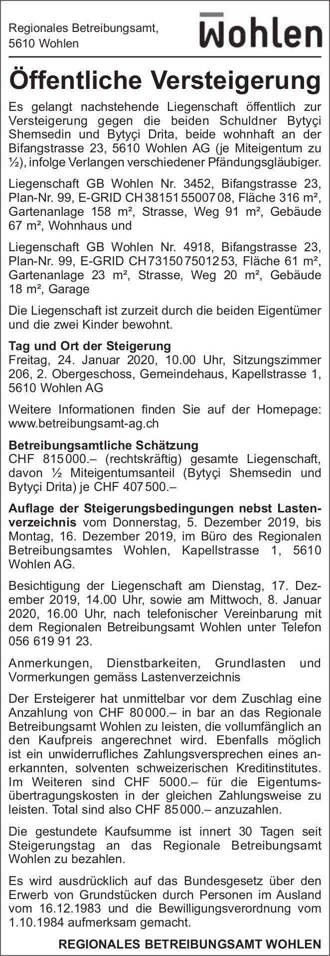 Gemeinde Wohlen - Öffentliche Versteigerung