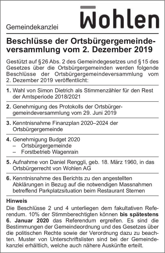 Gemeinde Wohlen - Beschlüsse der Ortsbürgergemeinde versammlung vom 2. Dezember 2019