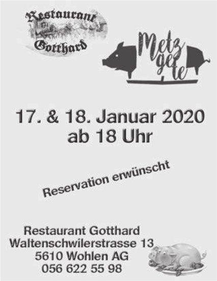 Restaurant Gotthard Wohlen - Metzgete am 17./18. Januar