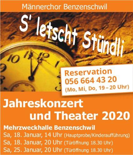 Männerchor Benzenschwil - Jahreskonzert und Theater am 18. und 25. Januar
