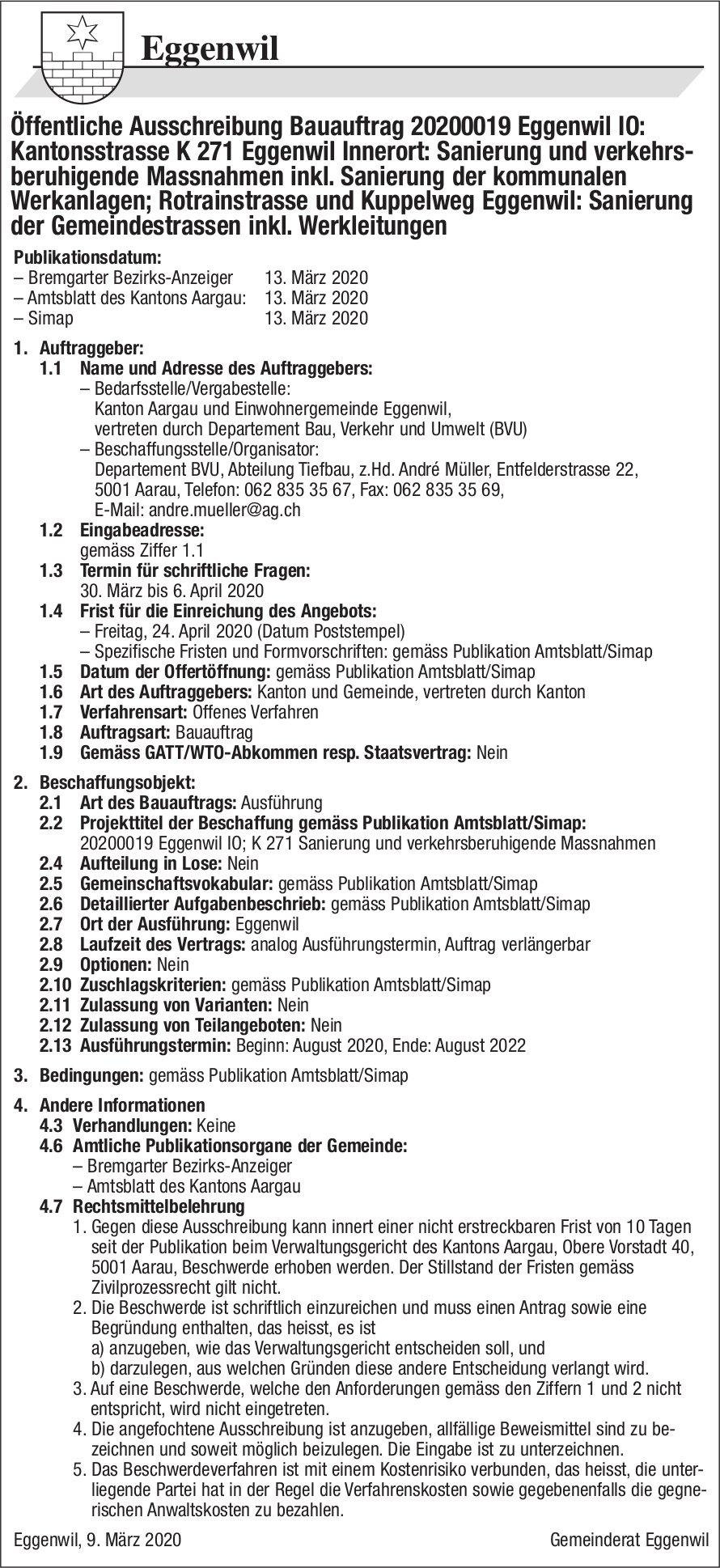 Gemeinde Eggenwil - Öffentliche Ausschreibung Bauauftrag