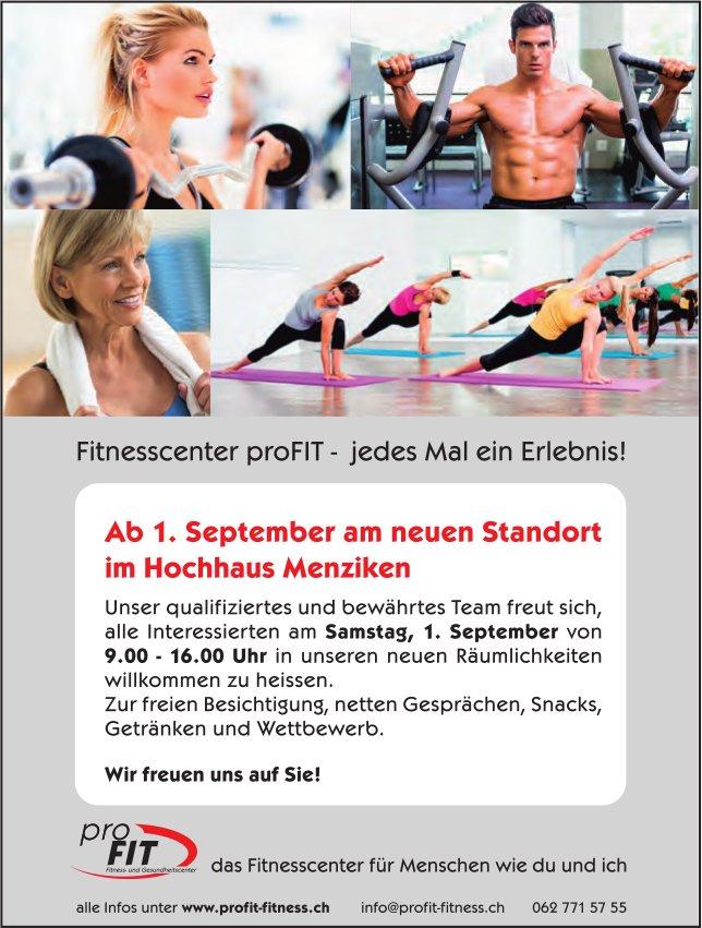 Fitnesscenter proFlT - jedes Mal ein Erlebnis!, ab 1. September im Hochhaus Menziken