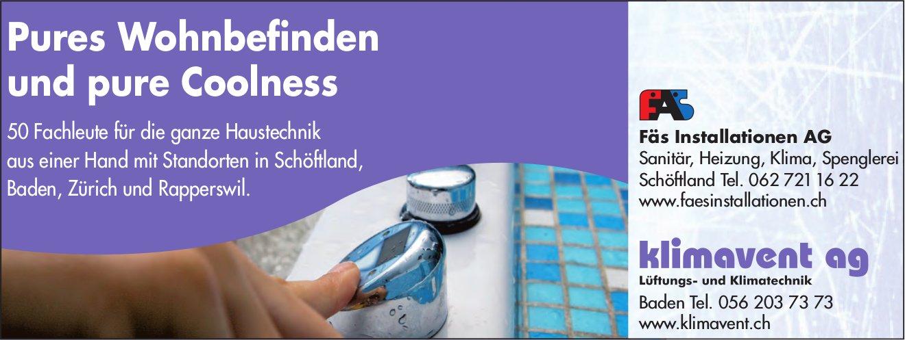 Fäs Installationen AG, Schöftland & klimavent ag, Baden - Pures Wohnbefinden und pure Coolness