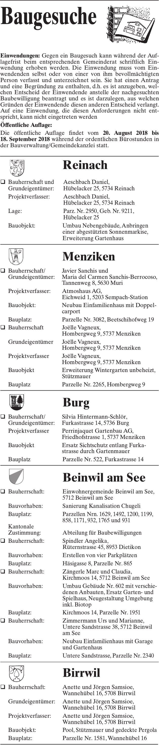 Baugesuche Reinach, Menziken, Burg, Beinwil am See & Birrwil