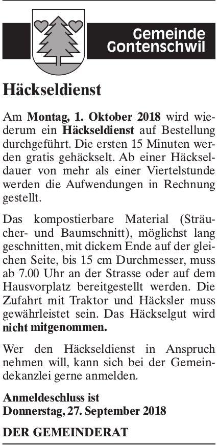 Häckseldienst, Gemeinde Gontenschwil