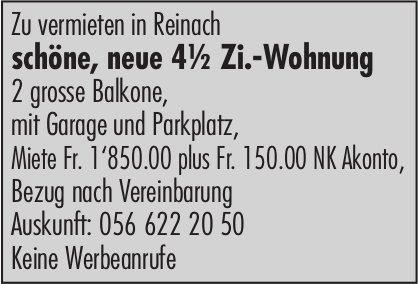 4.5 Zi.-Wohnung, Reinach, zu vermieten