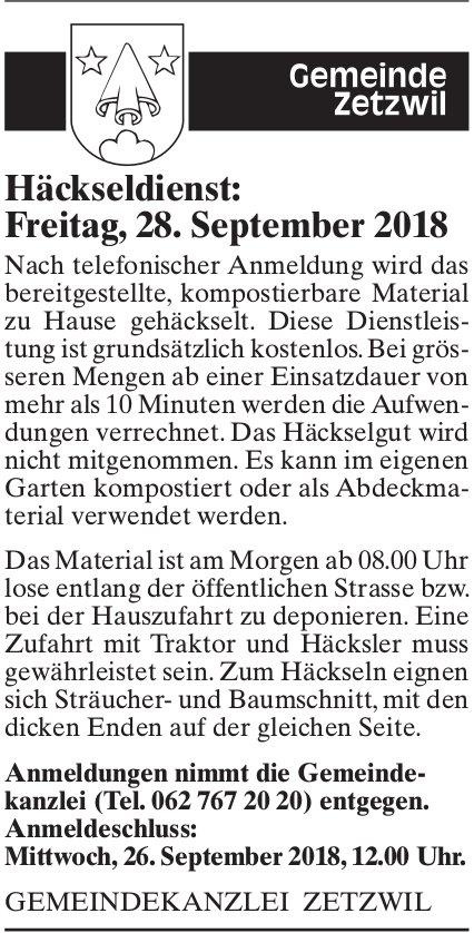Häckseldienst, 28. September, Gemeinde Zetzwil