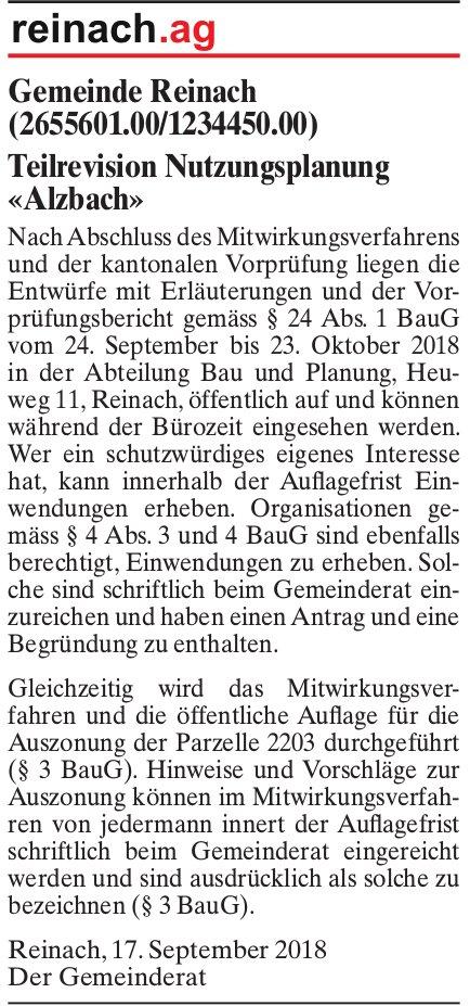 Teilrevision Nutzungsplanung «Alzbach», Gemeinde Reinach