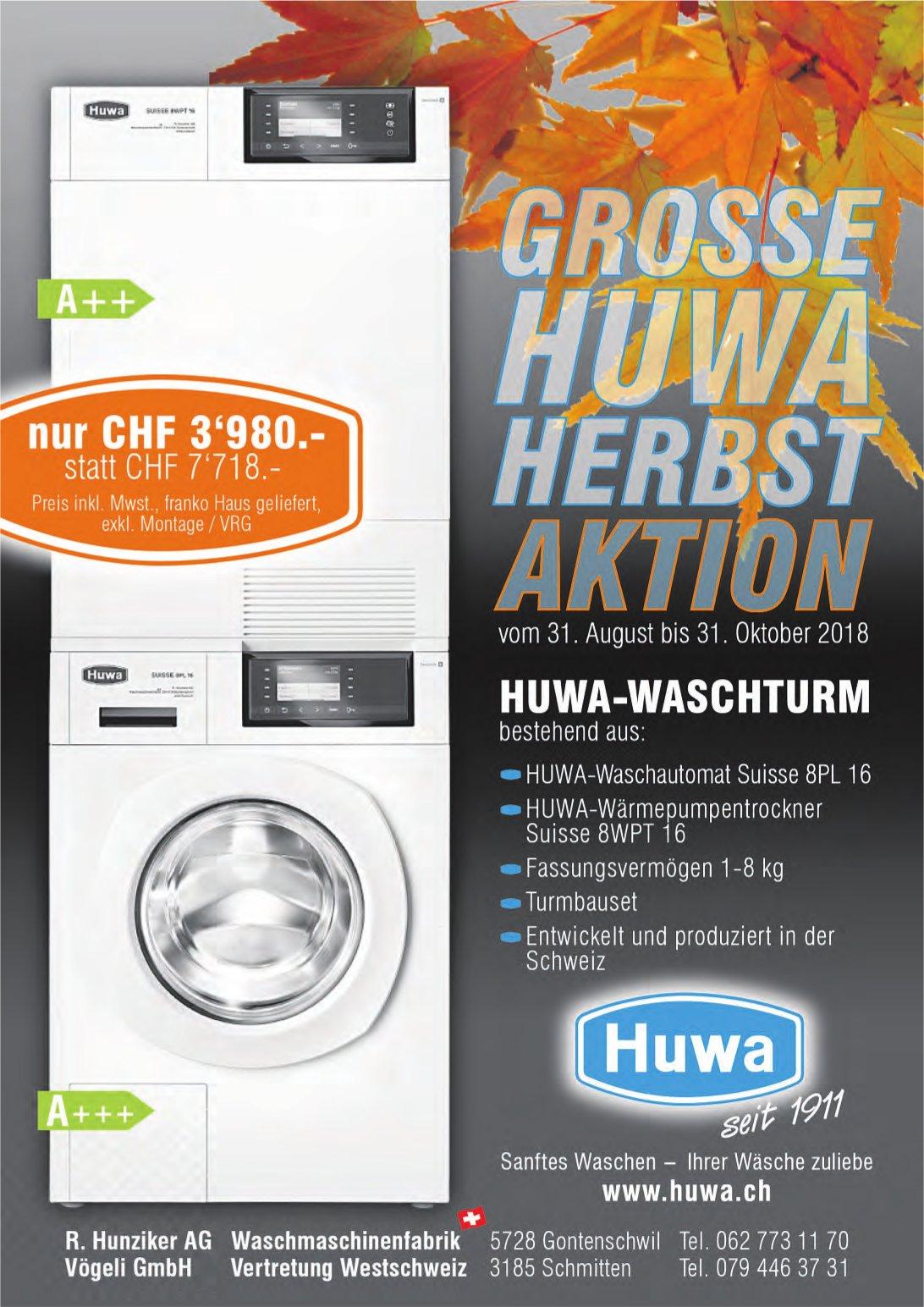 Waschmaschinenfabrik R. Hunziker AG, Gontenschwil - Grosse HUWA Herbstaktion, bis 30. Oktober