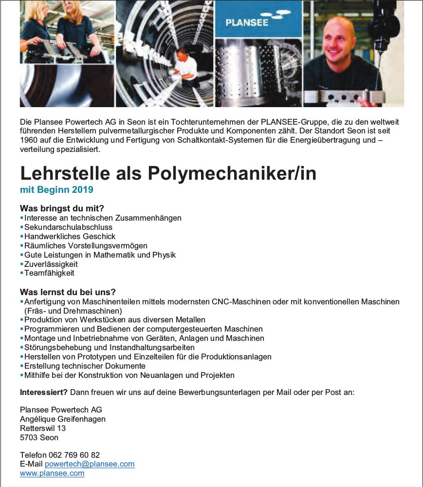 Lehrstelle als Polymechaniker/in, Plansee Powertech AG, Seon, zu vergeben