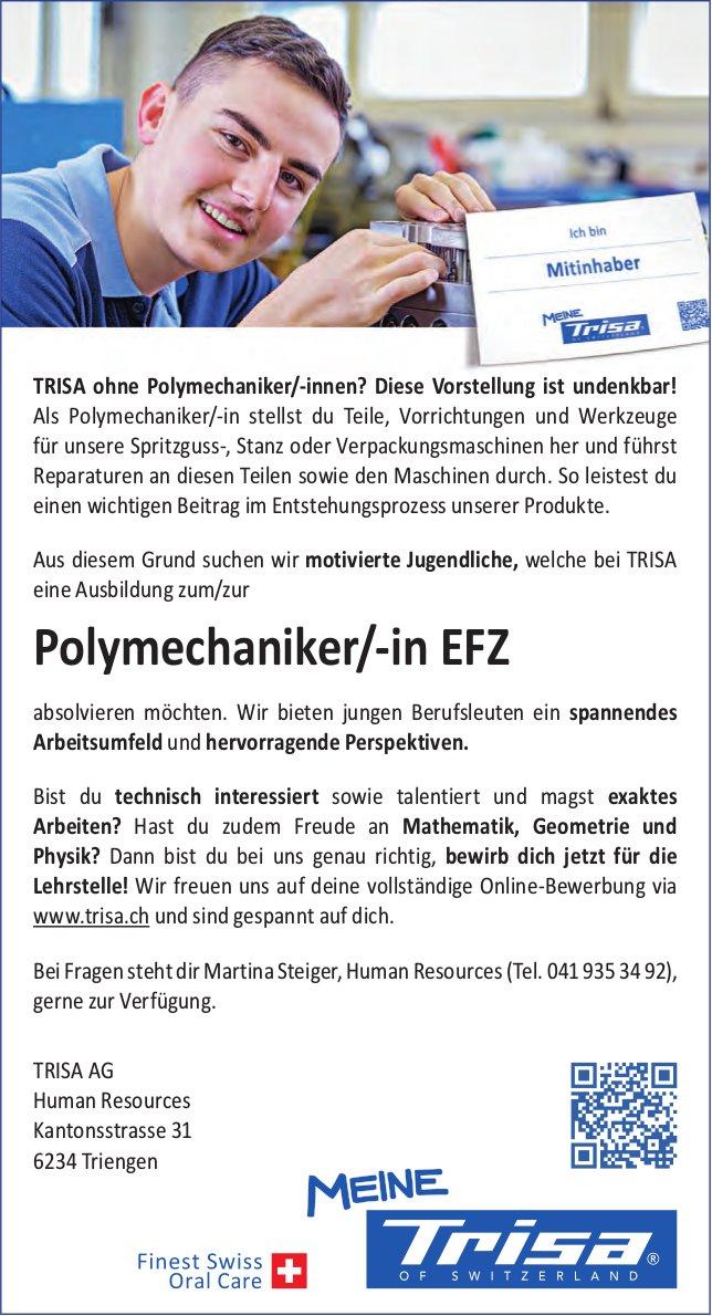 Lehrstellen als Polymechaniker/-in EFZ, TRISA AG, Triengen, zu vergeben