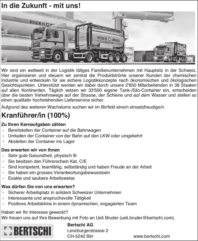 Kranführer/in (100%), Bertschi AG, Birrfeld, gesucht