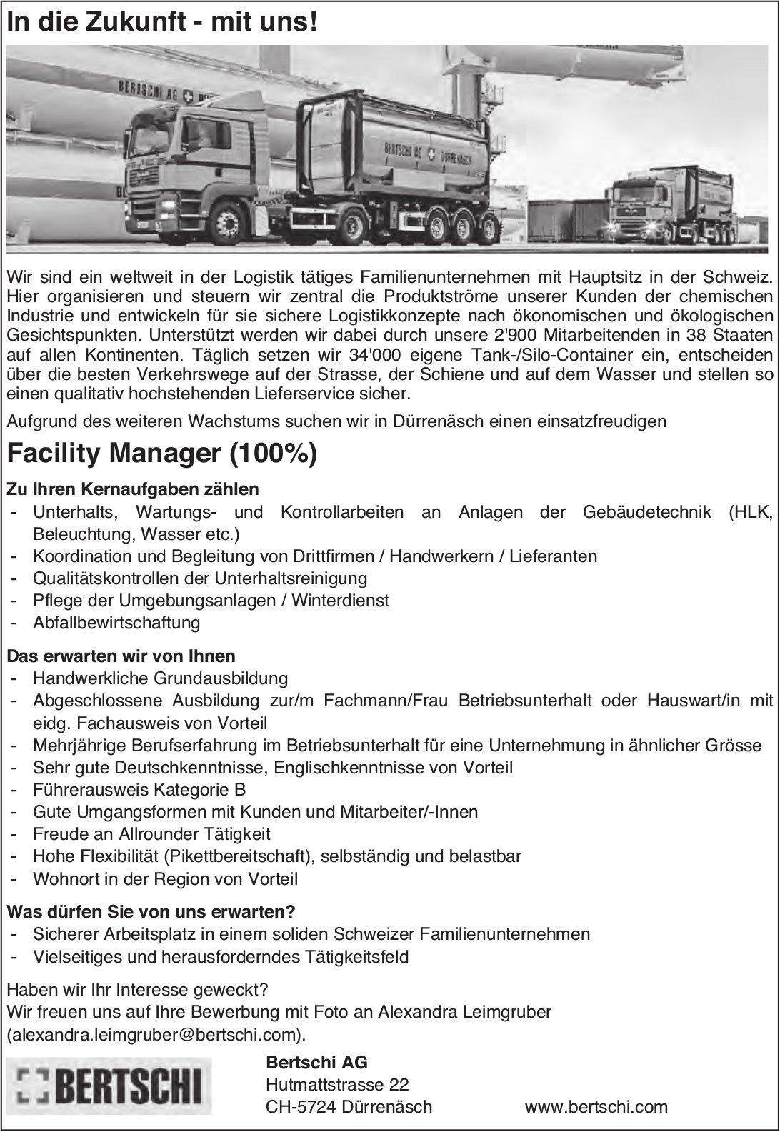 Facility Manager (100%), Bertschi AG, Dürrenäsch, gesucht