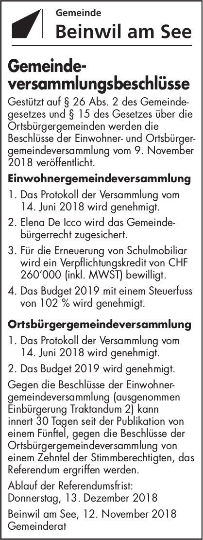 Gemeindeversammlungsbeschlüsse, Beinwil am See