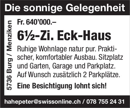 6.5-Zi. Eck-Haus, Burg / Menziken, zu verkaufen