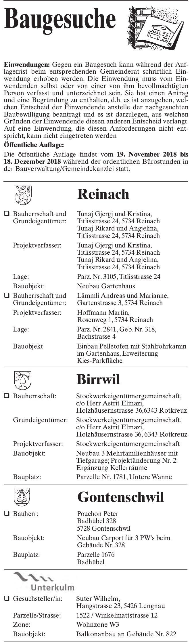 Baugesuche, Reinach, Birrwil, Gontenschwil & Unterkulm