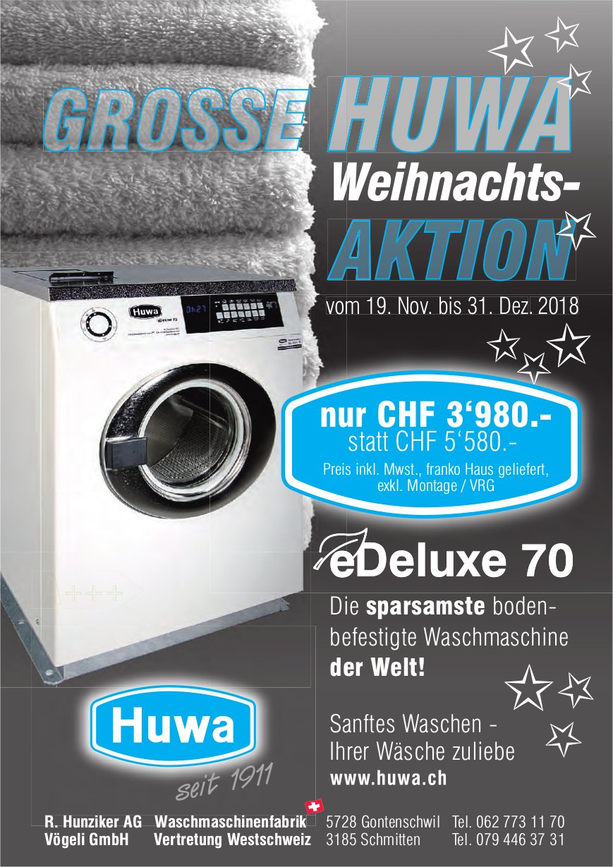 GROSSE HUWA Weihnachts-AKTION, 19. November - 31. Dezember, Gontenschwil