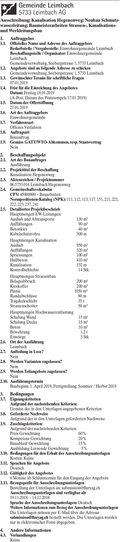Ausschreibung; Kanalisation Hegenenweg; Neubau Schmutzwasserleitung; Baumeisterarbeiten, Leimbach