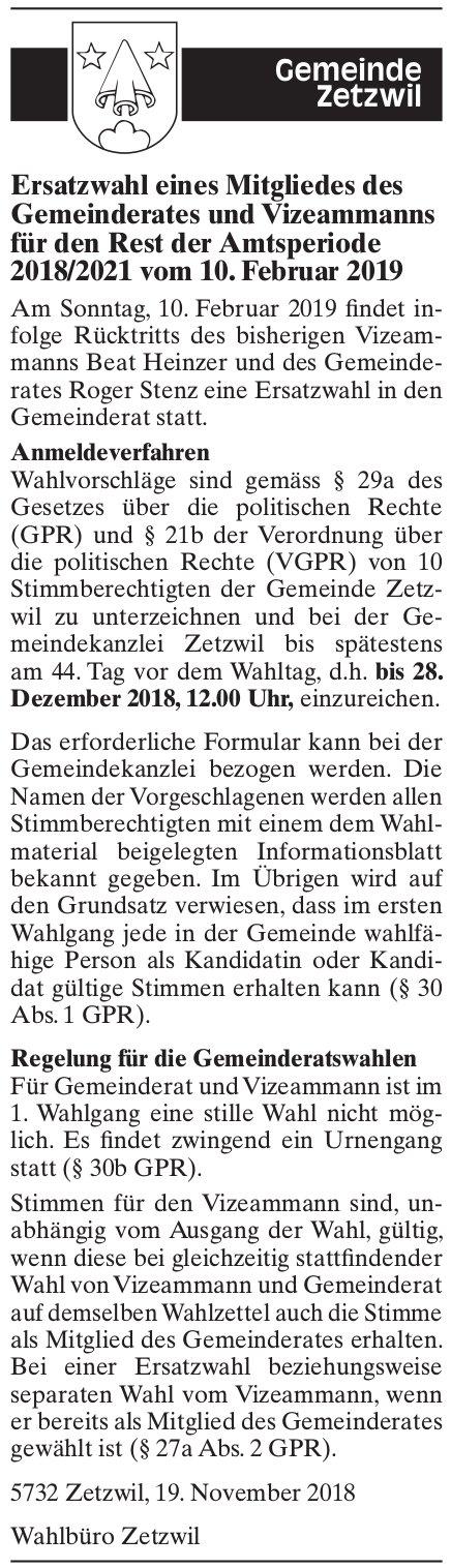 Ersatzwahl eines Mitgliedes des Gemeinderates und Vizeammanns, Zetzwil