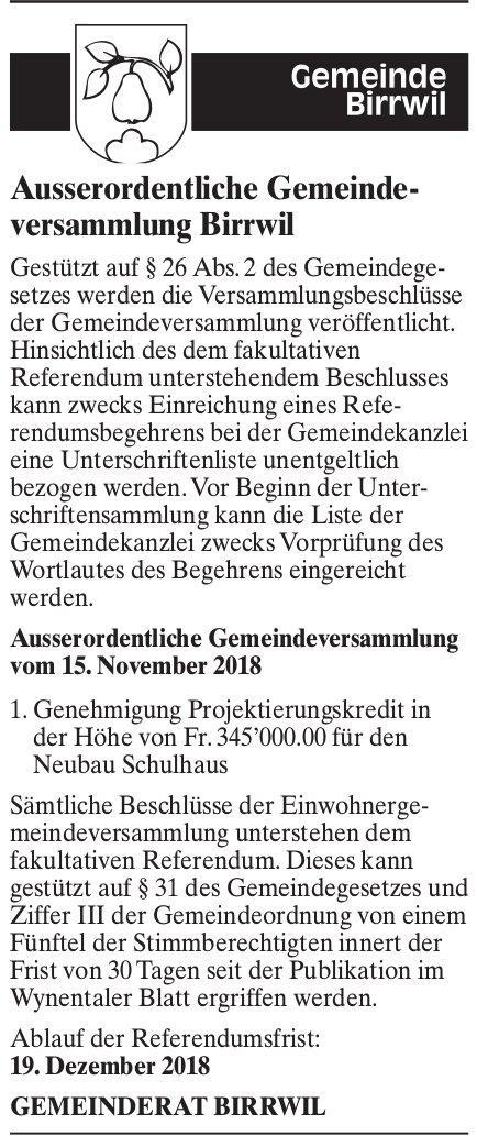 Ausserordentliche Gemeindeversammlung Birrwil, Beschlüsse