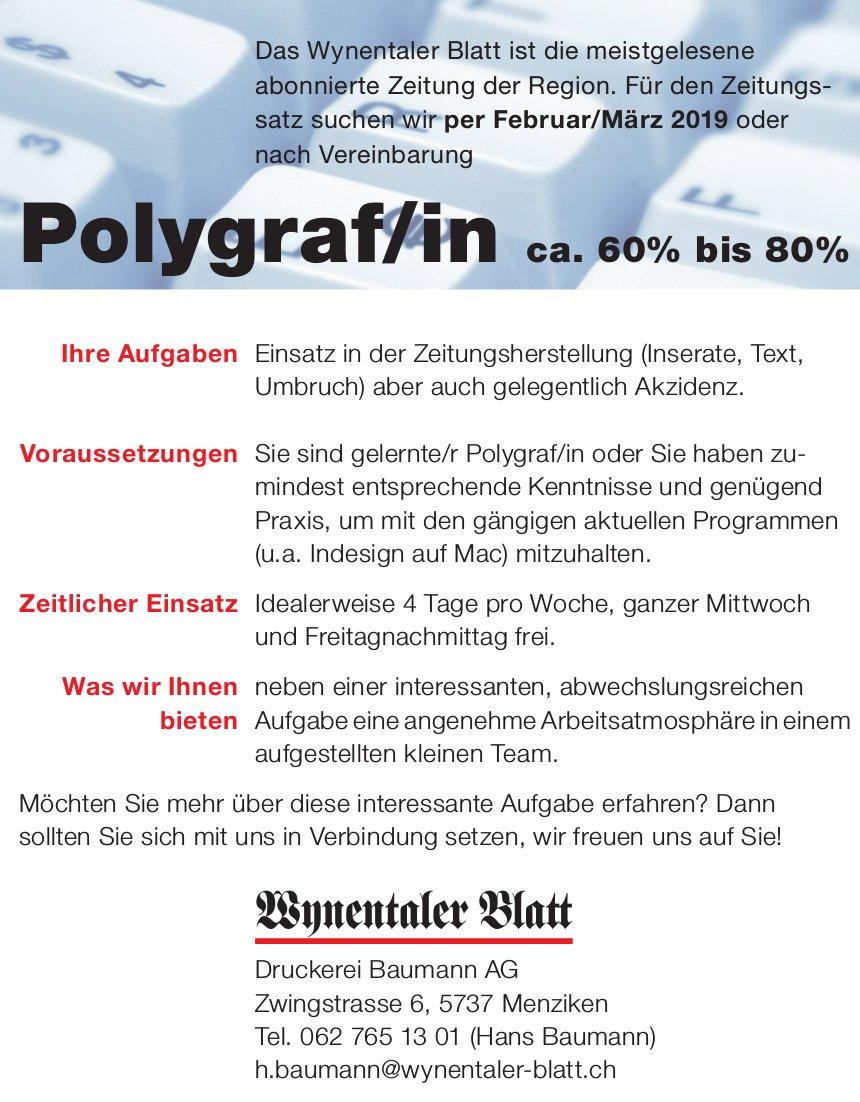 Polygraf/in, ca. 60% bis 80%, Wynentaler Blatt, Druckerei Baumann AG, Menziken, gesucht
