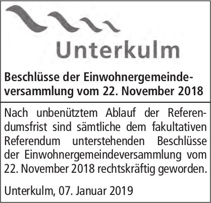 Beschlüsse der Einwohnergemeindeversammlung, Unterkulm