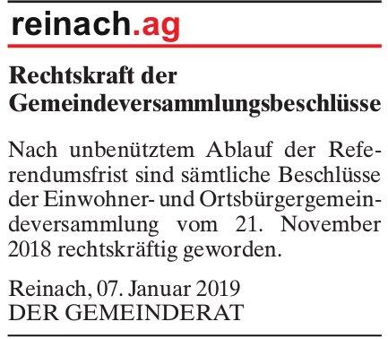 Rechtskraft der Gemeindeversammlungsbeschlüsse, Reinach