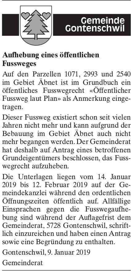 Aufhebung eines öffentlichen Fussweges, Gemeinde Gontenschwil