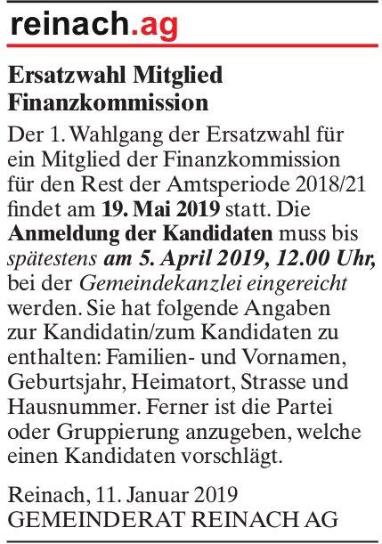 Ersatzwahl Mitglied Finanzkommission, Reinach